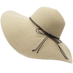 YUUVE Ladies Summer Straw Hat Fedora Floppy Sun Hat Large Wide Brim...  ( 13) ❤ liked on Polyvore featuring accessories a409549ac053