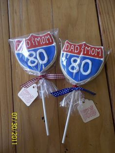 80th Birthday cookies for Dad and Mom's party.