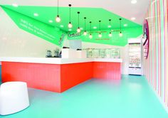 Twisted frozen yoghurt store by Morris Selvatico, Bondi Beach