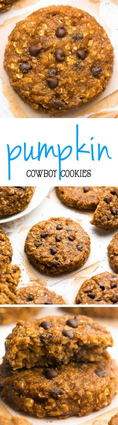 Healthy Pumpkin Cowboy Cookies -- only 100 calories & so easy! Oatmeal + pumpkin + chocolate chips = a match made in heaven! A couple of easy subs could make this phase 1 friendly! Healthy Cookie Recipes, Healthy Cookies, Healthy Sweets, Healthy Baking, Baking Recipes, Pumpkin Chocolate Chips, Chocolate Recipes, Baking Chocolate, Pumpkin Recipes