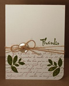 Use a background stamp on half of the card, stamp a sentiment and 2 images in another color; add fiber and a button.