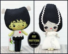 PDF Pattern. Frankenstein and the bride of by Noialand on Etsy