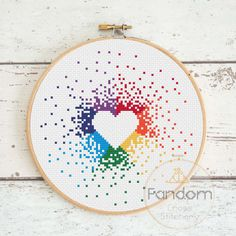 Rainbow Heart Cross Stitch PDF Pattern Instant Digital