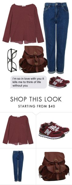 """""""fall fall fall"""" by teayako ❤ liked on Polyvore featuring MANGO, New Balance, Topshop, AmeriLeather and ZeroUV"""