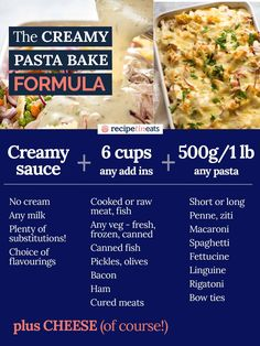 Here's creamy sauce to make a golden, bubbling creamy pasta bake using anything you have! Raw or cooked meat, canned tuna, any fresh, frozen or canned veg. How To Cook Pasta, How To Cook Chicken, Creamy Pasta Bake, Recipetin Eats, Recipe Tin, Frozen Spinach, Cooking Recipes, Pasta Recipes, Pasta Meals