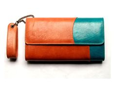 Bicolor leather purse, UNIQUE piece with a lovely charm inside for luck.. $110.00, via Etsy.