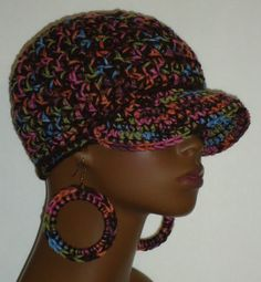 Patricia Brown Mix Chunky Crochet Baseball Cap with Hoop Earrings by Razonda Lee Razondalee