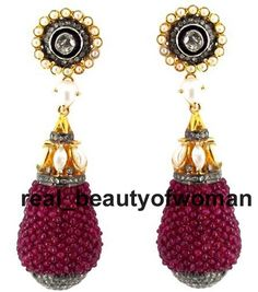 Vintage Inspired 2.21ct Rose / Antique Cut Diamond Pearl Ruby Earrings Dangler #realbeautyofwoman