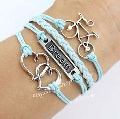 Antique silver Double heart braceletDream by vividiy on Etsy, $4.99