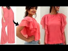 in today's video i am going to show you that how to make long ruffle sleeves top from old saree or any georgette fabric. This top is very trendy these days a. Neck Designs For Suits, Sleeves Designs For Dresses, Kurti Neck Designs, Saree Blouse Designs, Girls Dresses Sewing, Sewing Clothes, Diy Clothes, Fashion Sewing, Diy Fashion