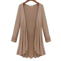 2016 Autumn Winter New Casual Loose Long Flounce Hem Women Coat Poncho Cardigan Feminina Blouse Shirt Thin Jacket Plus Size alishoppbrasil - white shirt blouse, pink flower blouse, ladies shirts and blouses *sponsored https://www.pinterest.com/blouses_blouse/ https://www.pinterest.com/explore/blouses/ https://www.pinterest.com/blouses_blouse/black-blouse/ http://us.shein.com/Shirts-c-1733.html
