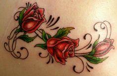 Girl Back Tattoos, Mom Tattoos, Small Tattoos, Tatoos, Rose Vine Tattoos, Flower Tattoos, Plumeria Tattoo, Rose Vines, Butterfly
