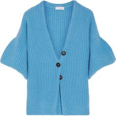 Brunello Cucinelli Cashmere cardigan ($2,845) via Polyvore featuring tops, cardigans, blue cardigan, blue cropped cardigan, chunky knit cardigan, thick knit cardigan and asymmetrical cardigans