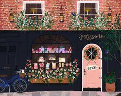 The Patisserie — Joy Laforme Storefront Signs, Posca Art, House Illustration, Poster, Cute Art, Folk Art, Original Paintings, Artsy, Branding