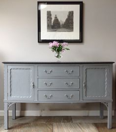Antique Edwardian Victorian French Style Grey Painted Sideboard Dresser hall