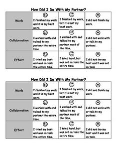 Independent, Partner, and Small Group Reflection Rubrics