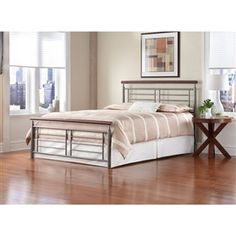 Full size Contemporary Metal Bed in Silver / Cherry Finish - Furnishdream.com- Online Store for Furniture, Home Decor, and more...