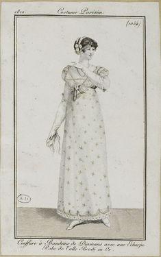 """Costume Parisien, 1810,     From the Bibliothèque des Arts Décoratifs via SceneInThePast flickr.   Plate 1054  """"Coeffure à Bandeau de Diamans avec une Echarpe. Robe de Tulle Brodé en Or."""""""