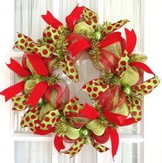 Deco Mesh CHRISTMAS Slim Screen Door Lime Green Red Ribbon Wreath Holiday Decor. $45.00, via Etsy.