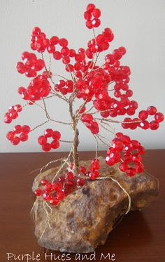 Beaded Wire Tree in A Cloche