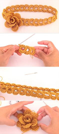 Total: 6 0 6 Flower Headband – This tutorial covers how to create a beautiful crochet flower headband of braided rings. Making this seemingly complicated headband is actually very simple. Crochet Flower Headbands, Crochet Rings, Crochet Flowers, Crochet Hooks, Crochet Baby, Crochet Necklace, Crochet Hair Accessories, Crochet Hair Styles, Crochet Stitches