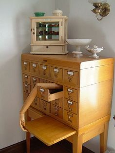 Great use of an old card catalog.