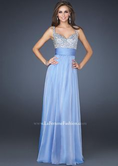 LOVELY Periwinkle Beaded Prom Dress with an Empire Waistline - La Femme 16802 - ThePromDresses.com