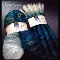 """Prince Caspian"" hand-carded fiber batts & rolags by Yarnshine. www.facebook.com/yarnshine"