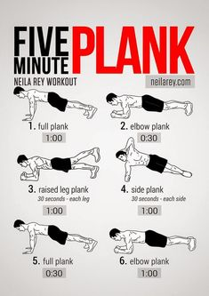 5 minute plank - abs, obliques, workouts, exercises