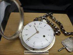Große Silber Spindeltaschenuhr John Ward Schlüsselaufzug ca. John Ward, Pocket Watch, Accessories, Silver, Pocket Watches