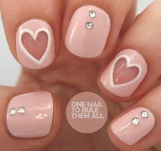 Simple And Easy Valentine Nail Art Designs Fancy Nails, Diy Nails, Cute Nails, Pretty Nails, Negative Space Nails, Valentine Nail Art, Nails First, Manicure Y Pedicure, Manicure Ideas