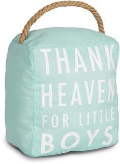 Open Door Decor - Thank Heaven for Little Boys Aqua Blue Decorative Door Stopper Shelf Decor