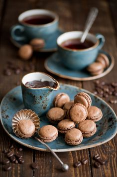 Breakfast with tea and chocolate macarons (by The Little Squirrel)
