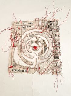 """""""Nur ein Moment"""" (just a moment) is the headline of this piece of newspaper. 20 x 20 cm, altered newspaper Textile Fiber Art, Textile Artists, Stitching On Paper, Art Techniques, Mixed Media Techniques, Embroidery Art, Fabric Art, Oeuvre D'art, Collage Art"""