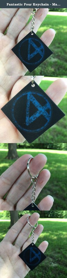 "Fantastic Four Keychain - Marvel Comics Key Accessories - Swirl Art Gifts - 1.25"" x 1.25"" Square Key Fob - Geek Chic Gifts. This Fantastic Four key chain is created from hand painted artwork. -Made of strong plastic -Sealed with acrylic sealer -Purchase includes charm and keyring -Shipped in bubble lined envelope."