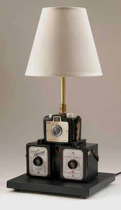 vintage kodak camera stack lamp by leeannsvintagedecor on Etsy