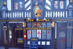 The George Pub in Fleet Street is the only wooden building that survived the Great Fire of London in 1666.