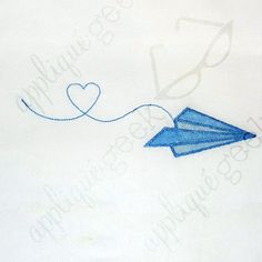 Paper Airplane with Heart Embroidery Design DOWNLOAD for DIY projects, from Designed by Geeks. Use any embroidery machine - Brother, Viking, Janome, Bernina, Pfaff, Singer - to stitch this design.  This is an applique design of a paper airplane leaving a heart in it's trail, perfect for Valentine's Day. Applique is done in three steps so that you have the option to use three shades of a color to show detail.