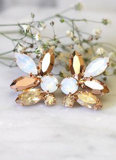 Rose Gold Champagne Cluster Earrings,Swarovski Crystal Earrings,Bridal Rose Gold Earrings,Bridesmaids Earrings,White Opal Champagne Studs by iloniti on Etsy https://www.etsy.com/listing/266932564/rose-gold-champagne-cluster