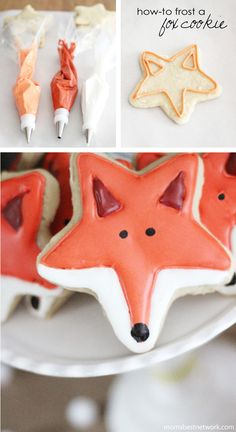 How-to frost a Fox Shaped Sugar Cookies. So cute!! I love foxes and this looks so easy to do.