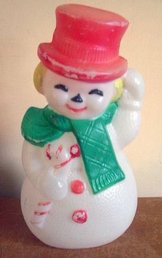 "Vintage Christmas Blow Mold ~ Poloron Victorian Snowman Tips his Red Hat * 13 1/2"" tall"