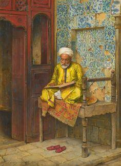 ARTHUR VON FERRARIS - Um homem instruído do Cairo Óleo sobre painel - 46 x 35,5 - 1888 ALMEIDA JÚNIOR - Cozinha caipira Óleo so...