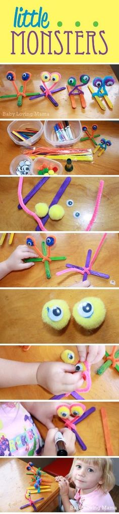 Little Monsters Craft Tutorial - These monsters are so cute and easy! by SAburns