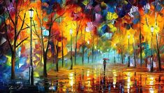 "NIGHT FEELING — PALETTE KNIFE Oil Painting On Canvas By Leonid Afremov - Size 15""X25"""