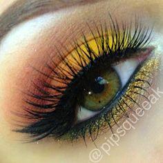 Sunset eye makeup #eye #makeup #dark #dramatic #eyeshadow #bright #muted