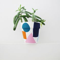 Hand Painted Shapes Plant Pot by ThisWayToTheCircus on Etsy Painted Plant Pots, Terracotta Plant Pots, All Plants, Potted Plants, Style Lounge, School Fundraisers, Pottery Designs, Cute Crafts, Decorative Accessories