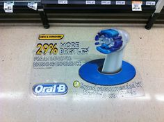 This 3D floor graphic was designed and installed across retail stores in Australia for Oral B to promote their new and improved brushing experience that had 29% more bristles than its predecessor.