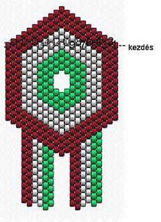 Kokárda rajz de Perlas de Poé Peyote Beading, Rakhi, Bead Art, Beading Patterns, Beads, Holiday Decor, Frame, Necklaces, March
