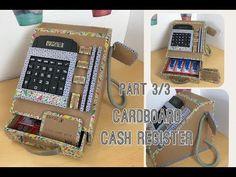 Diy cardboard cash register part Cardboard Play, Cardboard Box Crafts, Crafts For Boys, Diy For Kids, Chalk Paint Desk, Kitchen Sets For Kids, Candy Dispenser, Cash Register, Diy Gift Box