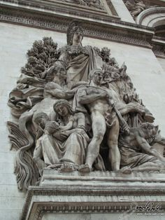 Arc De Triomphe, hand carved art work up close